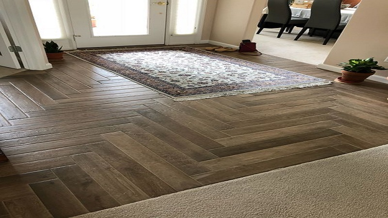 Herringbone Pattern connects Contrasting Spaces