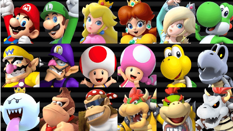 all the Characters in Mario Kart Wii